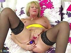 big tits, busty, toy, masturbation, stockings, solo, european, mature, natural tits, amateur