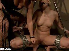 Slim babe gets tied up in the dark dungeon