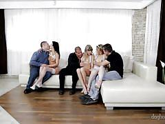 Ladies get comfortable on the couch @ 5 incredible orgies