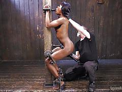 bdsm, interracial, gagging, black hair, ebony babe, device bondage, dildo sucking, metal bondage, electric vibrator, device bondage, kink, the pope, ana foxxx