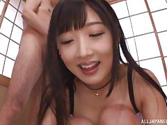 Japanese gangbang ends with a creamy facial