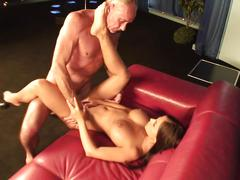 Angelica siphons a massive cock before getting banged hardore in a mmf sex