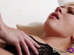 Strapon amazing blonde babe fucks her gf with vibrator