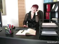 blowjob, mature, red head, threesome, grandmafriends, old, 3some, granny, redhead, european, handjob, cock-sucking, office, double-bj, stockings