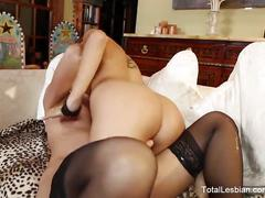 Brunette milf passionately fucks a younger woman