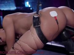 Pretty electro slut begs to cum