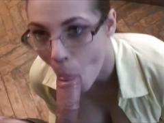 The teacher makes blowjob after work