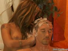 Golden blonde turkish massage