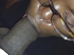 amateur, big ass, blowjob, pov, ebony, big-cock, bbc, glasses, homemade, cock-sucking, handjob, cum, cum-in-mouth