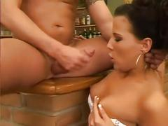 Gorgeous girl fucks bartender after inventory check