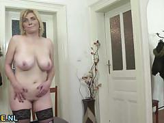 big tits, masturbation, stockings, solo, european, mature, natural tits, amateur