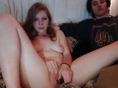 Teen fingers her wet juicy pussy in front of not her brother