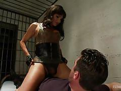 Brunette doll with big dick wants to drill man's butt