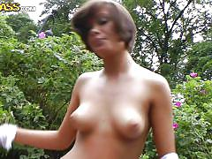 Naughty miss nutter playing nasty outdoor games