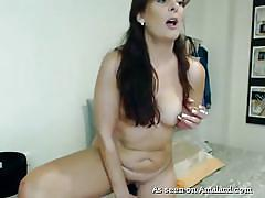 Horny brunette milf fucking herself with huge toy