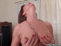 Business woman masturbates in pantyhose
