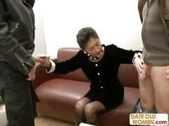 Hairy german grandma takes two cocks