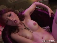 Submissive japanese slut loves eating cum from multiple cocks