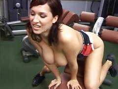 Babe with big tits fucks gym trainer