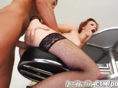 Ass traffic cute redhead wears cum on face after hard ass fuck
