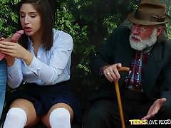 Pussy thrashing abella danger at the bus stop while her grandad witnesses everything