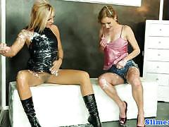 Saucy lesbians doused with cum
