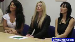 Cfnm babe gives head to the master of ceremony