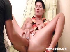 Busty brunette mature babe gets her asshole fisted
