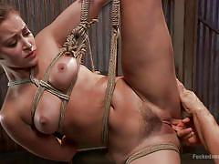 milf, bdsm, vibrator, brunette, moaning, tied up, deep penetration, ropes, suffocation, dungeon sex, kink, derrick pierce, dani daniels