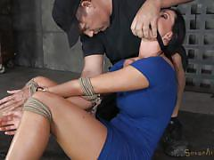 Tied brunette made to swallow cock