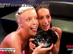 Blonde and brunette babes lucie and mary are on their knees collecting jizz