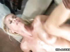 Glamorous blonde milf rides a stiff black sausage