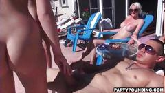 Outdoor poolside orgy with dozens of sluts