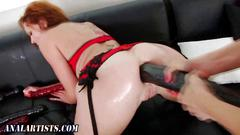 Ass toyed lesbo fingered and she takes the toy in