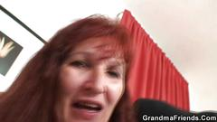 granny, mature, threesome, blowjob, hardcore, old, strip, redhead, stockings