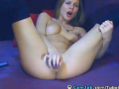 Hot blonde playing her tight pink pussy