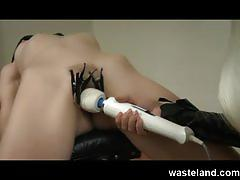 Femdom nurse gives anal exam to female submissive with electro and sex toys