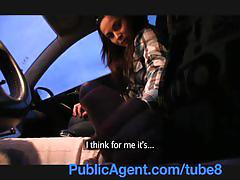 teen, publicagent.com, real, petite, sex in car, outdoors, cumshot, pov, sex for cash, brunette, perky tits, doggystyle, bj, bald pussy