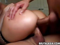 brunette, threesome, double penetration, brutalasia, ass, big-tits, blowjob, cumshot, double-penetration, dp, gaping, ass-fucking, fellatio, blow-job, small-tits