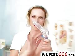 Blonde nurse slut gabriela opens her cunt with fingers