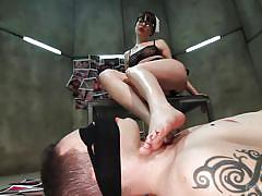 domination, blindfolded, brunette, feet slave, brunette milf, foot licking, feet fetish, foot worship, kink, wolf hudson, dana dearmond