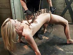 torture, hanging, vibrator, blonde babe, dildo fuck, clothespins, black gloves, rope bondage, the training of o, kink, amanda tate, owen gray