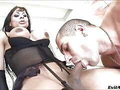 big boobs, shaved dick, shemale blowjob, sexy lingerie, brunette shemale, she plays with her cock, evil angel, chelsea b