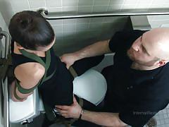 milf, bdsm, toilet, brunette, tied up, infernal restraints, bonnie day