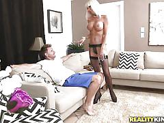milf, blonde, big tits, high heels, stockings, blowjob, couch, undressing, milf hunter, reality kings, kasey storm