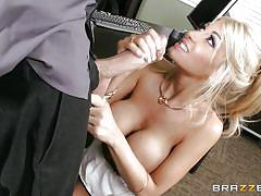 milf, blonde, big tits, big cock, office, blowjob, pussy licking, on desk, big tits at work, brazzers network, kayla kayden, danny d