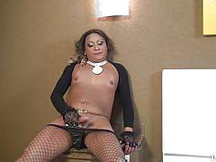milf, solo, big butt, tranny, brunette, flat chested, jerking off, fishnets, ts dolls, tranny pack, samaya cordeiro