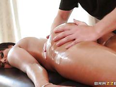 Black haired babe oiled and satisfied