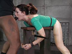 Brunette tied and brutally mouth fucked by a bbc