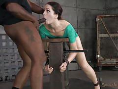 milf, bondage, bdsm, interracial, brunette, mouth fuck, restraints, sexually broken, jack hammer, sarah shevon, matt williams